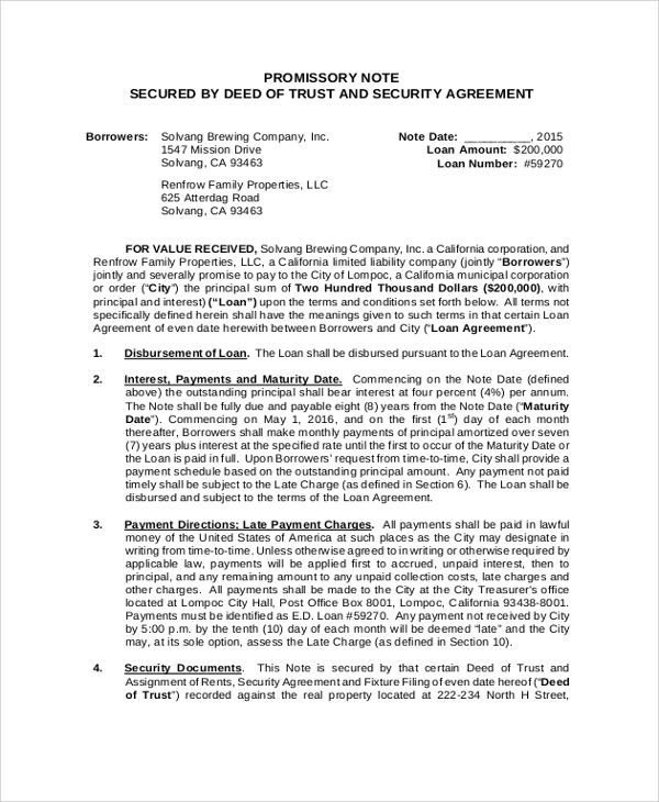 promissory note secured by deed of trust