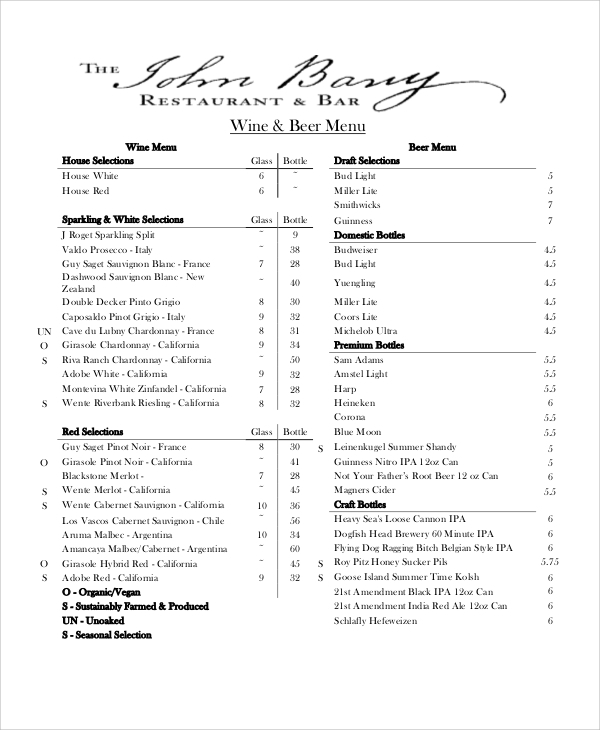 beer bar restuarent menu template