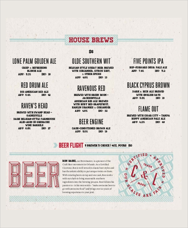 sample beer menu template