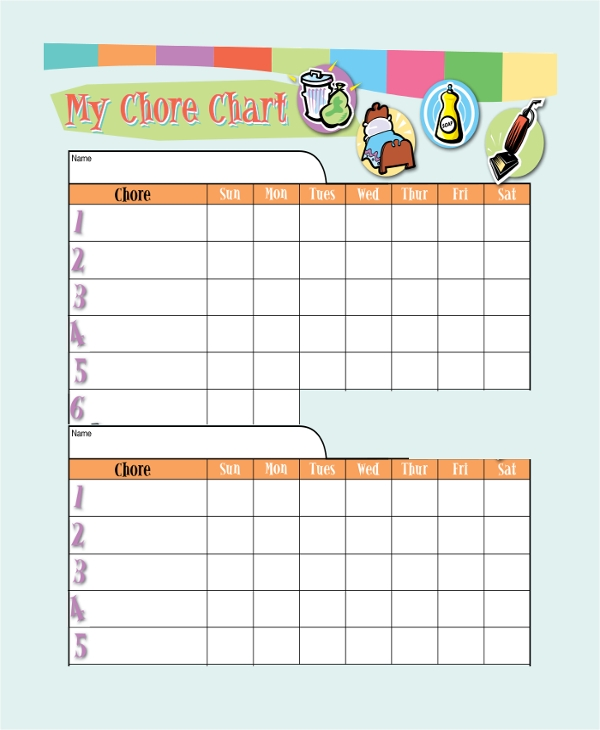 Sample Chore Chart   Documents In Pdf Word Exel