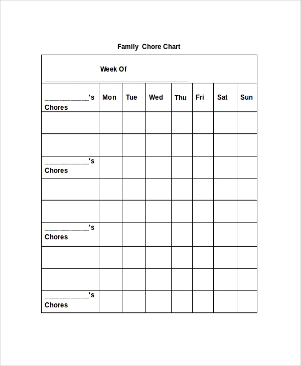 19 sample chore charts sample templates