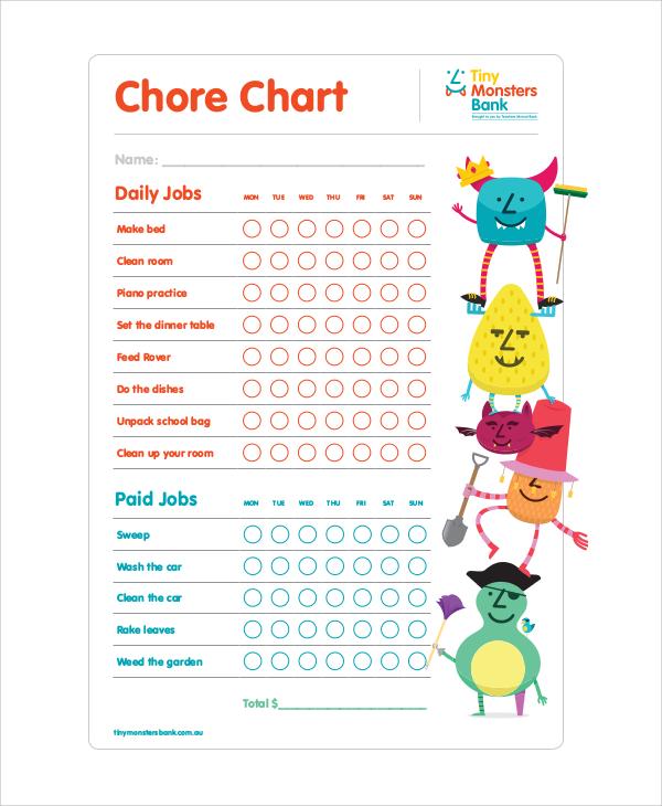 job chore chart