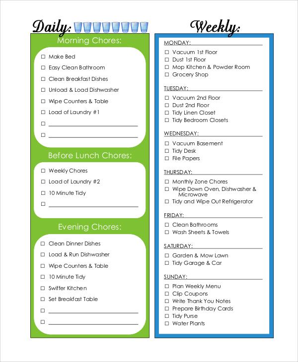 household chore chart