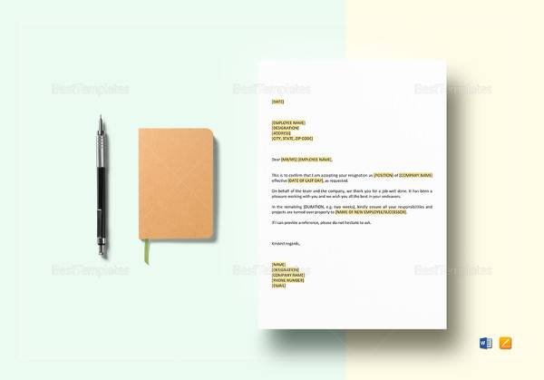 acceptance of resignation templates