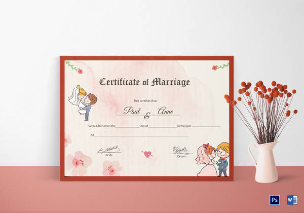 antique marriage certificate design template