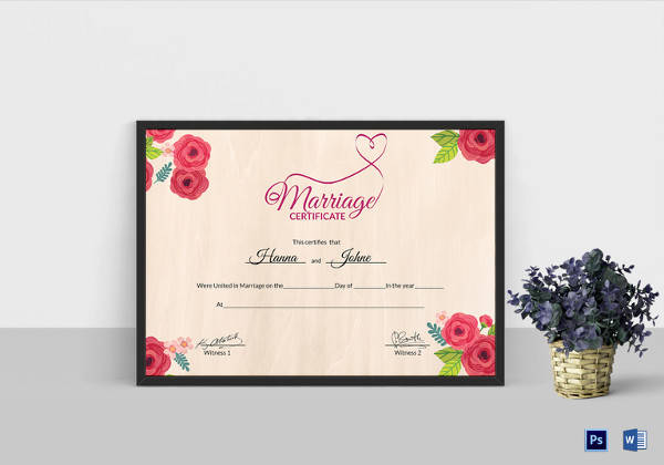 floral marriage certificate psd template
