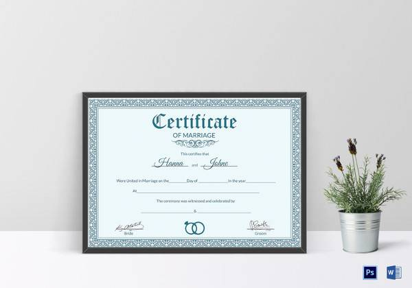 formal marriage certificate