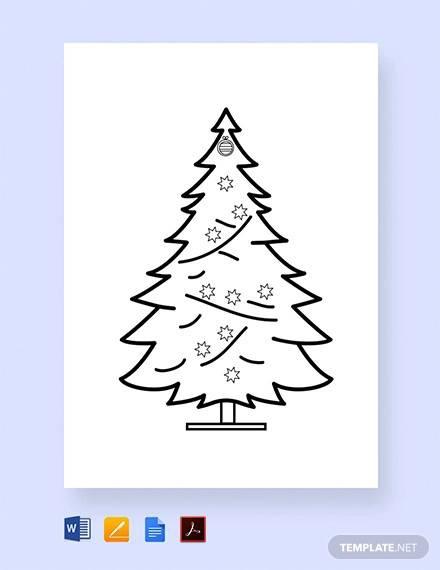 free christmas tree printable coloring page template
