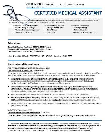 general medical assistant resume