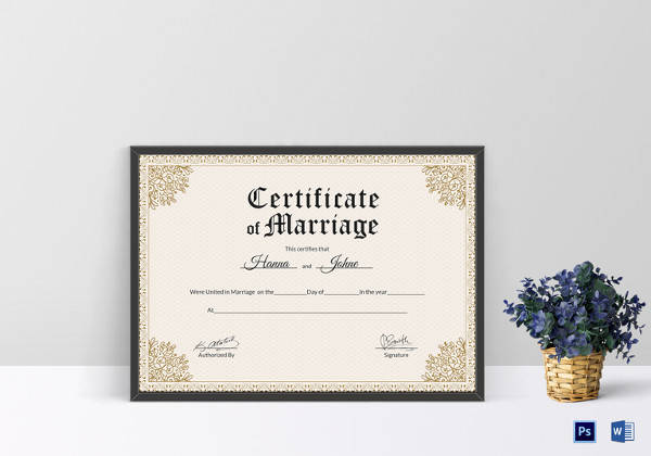 keepsake marriage certificate word