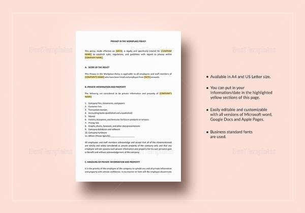 privacy in the workplace policy template