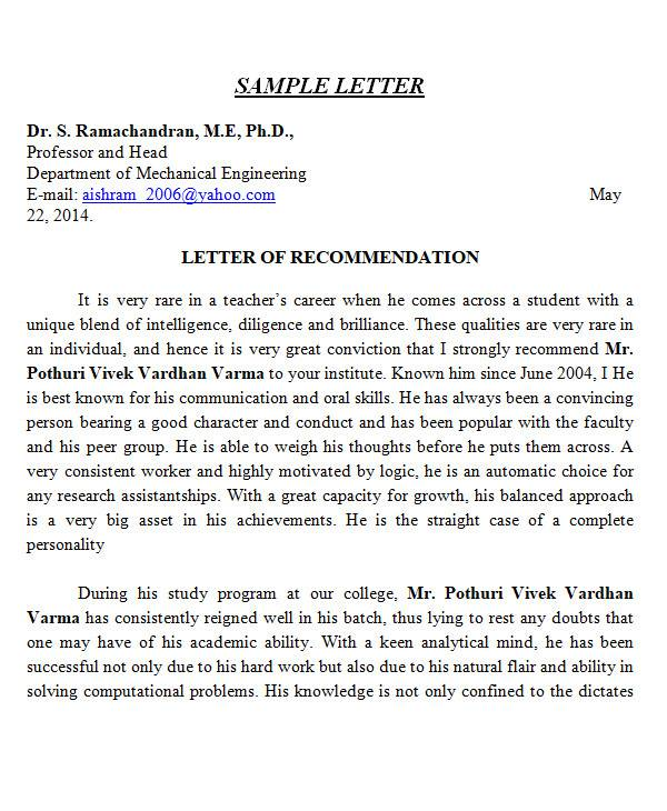 recommendation letter format in ms word