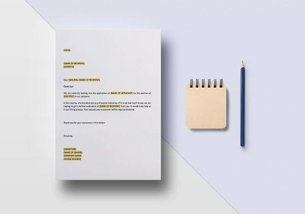 request for character reference template