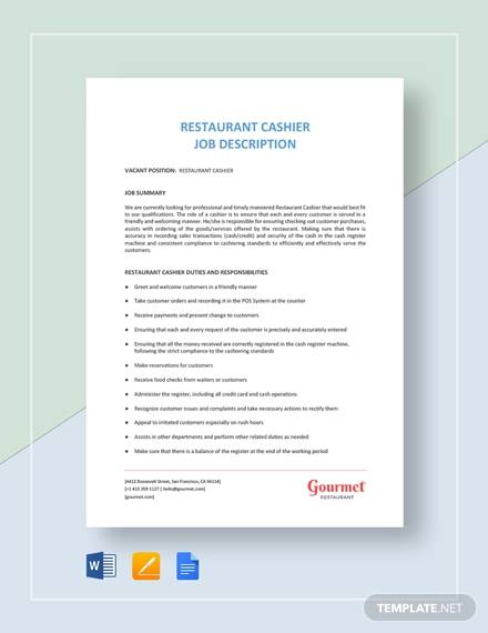 restaurant cashier job description