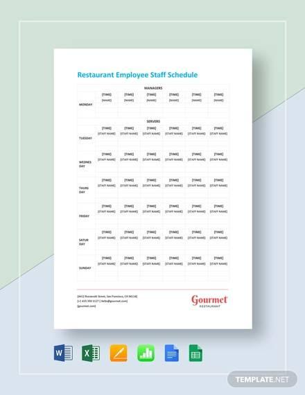 restaurant employee staff schedule