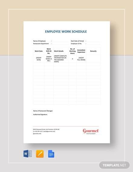 restaurant employee work schedule template