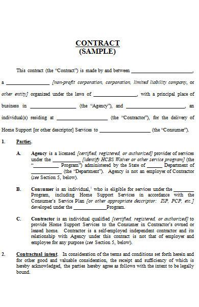 sample contract in ms word