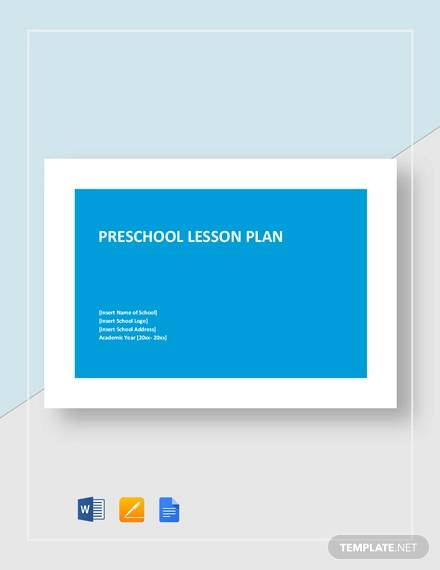 sample preschool lesson plan template