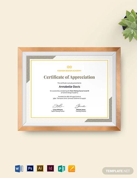 certificateof appreciation for training