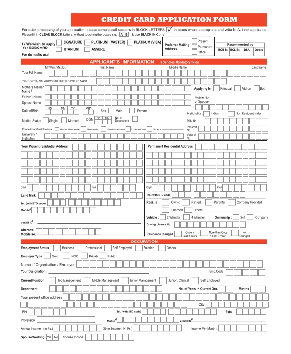 Sample Credit Application Form   Examples In Word Pdf