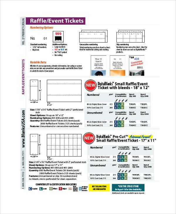 raffle event ticket sample