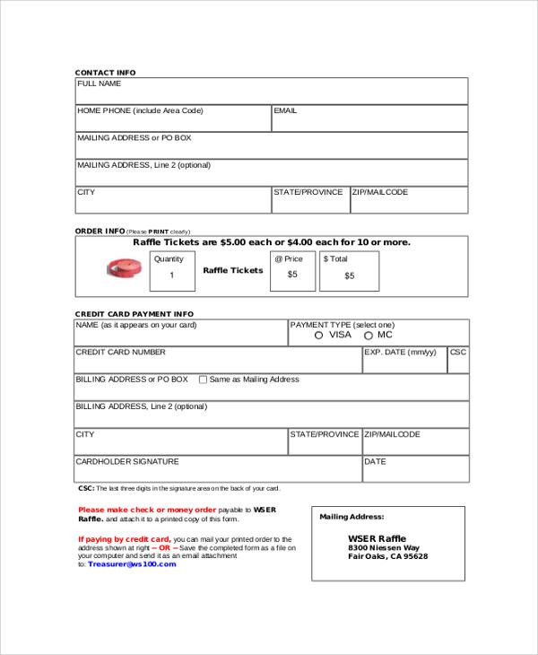 raffle ticket order form
