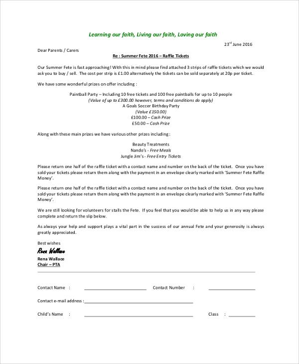 raffle ticket letter sample