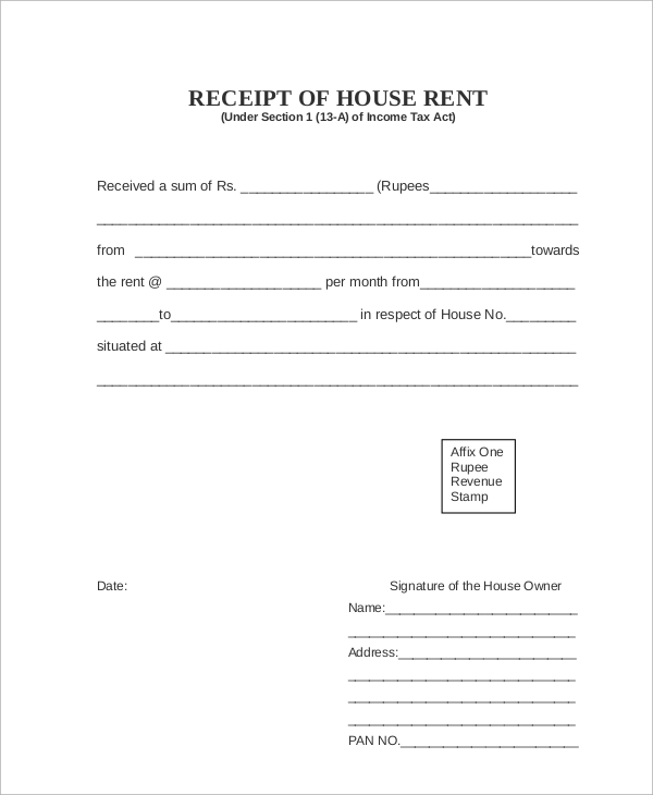 Sample Rent Receipt 6 Documents in PDF – Format of House Rent Receipt