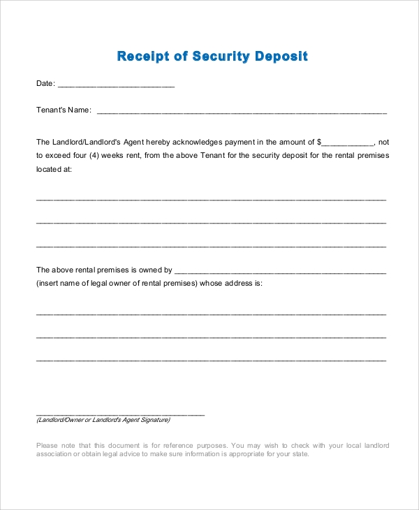 Sample Rent Receipt 6 Documents in PDF – Sample Deposit Receipt