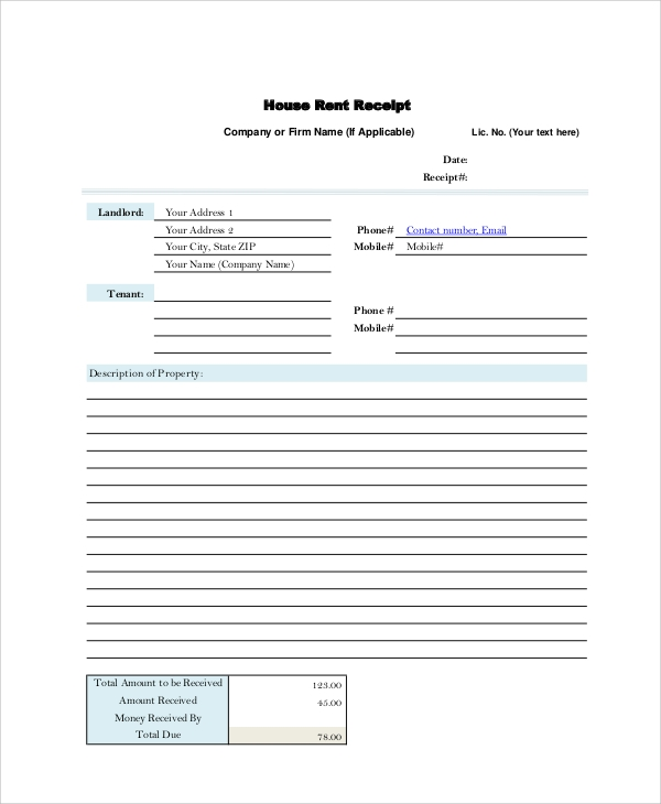 Sample Rent Receipt 6 Documents in PDF – House Rent Receipt