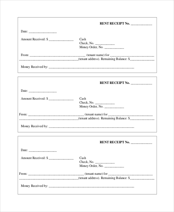 Sample Rent Receipt 6 Documents in PDF – Rent Receipt Pdf