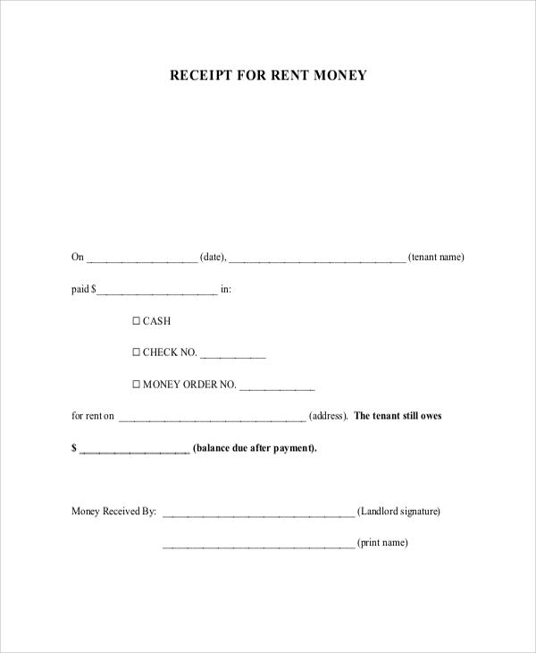 receipt for rent money