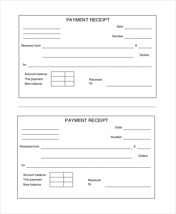 Cash Payment Receipt Sample  Payment Receipt Templates
