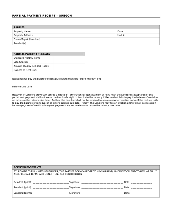 Receipt For Partial Payment Geccetackletartsco - Partial payment invoice template