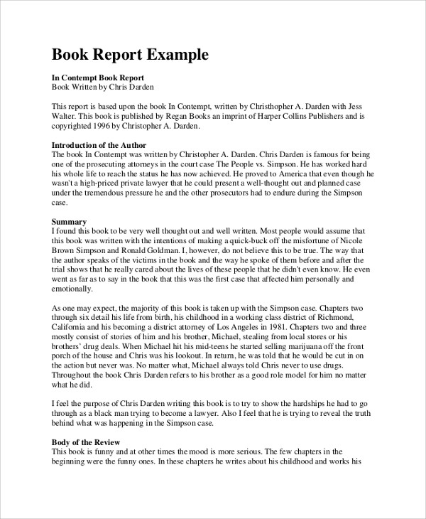 Sample Book Report   Documents In Pdf Word