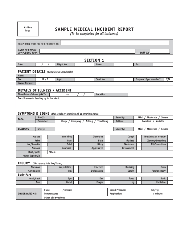 Medical Incident Report Sample  Medical Incident Report Template