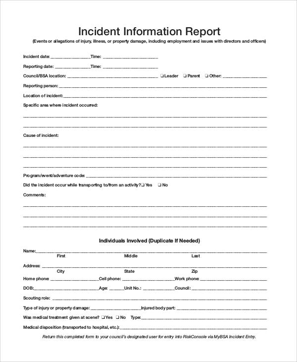 incident information report