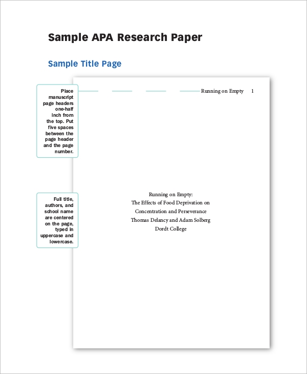 Psychology research paper apa format