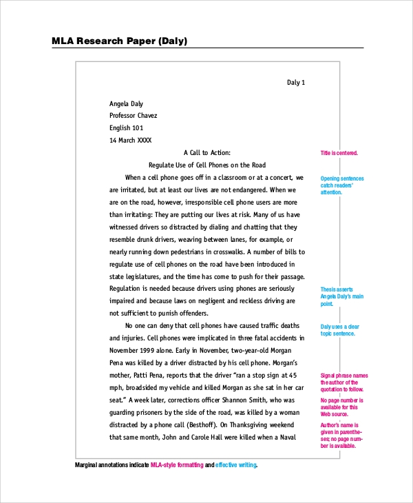 Free Research Paper Samples Mla Format
