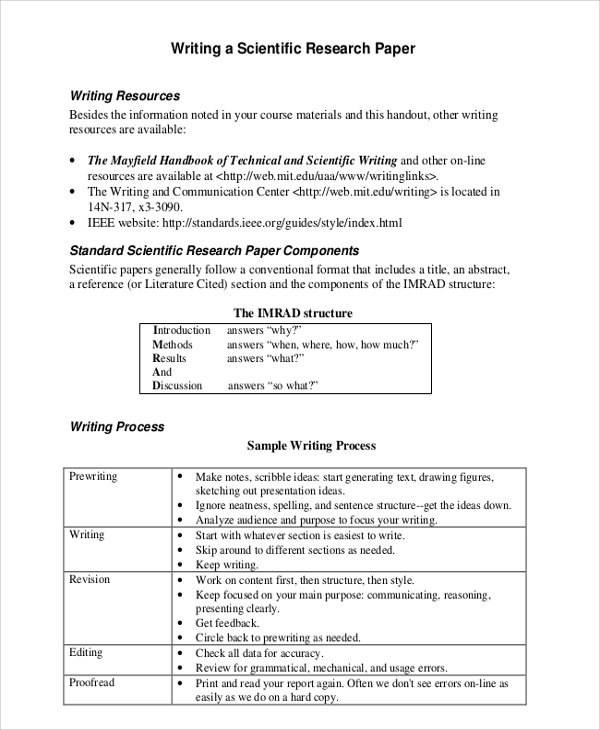 Scientific research paper format