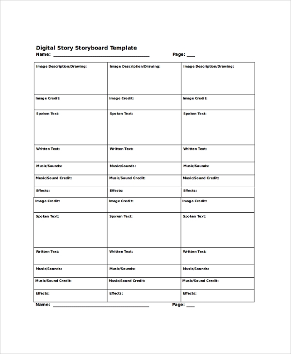Sample Storyboard   Documents In Pdf Word
