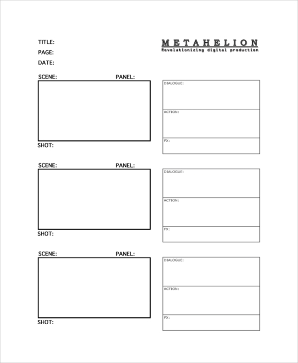 Vertical Storyboard Sample. Digital Storyboard Template Digital