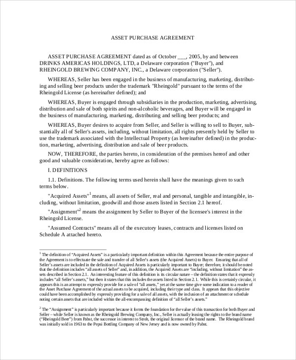 Asset Purchase Agreement Sample