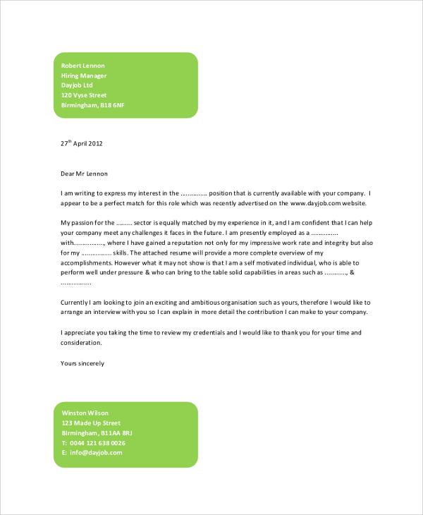 Sample Job Cover Letter