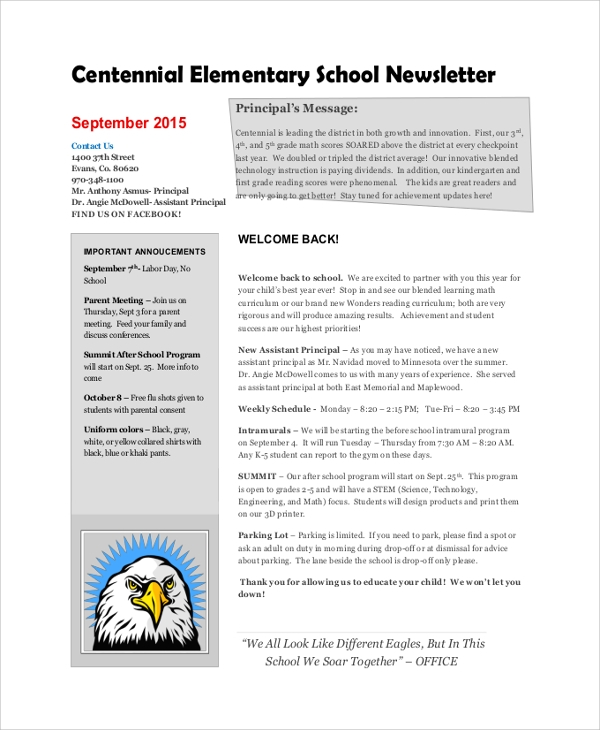 Sample school newsletter 7 documents in pdf word for Primary school newsletter templates