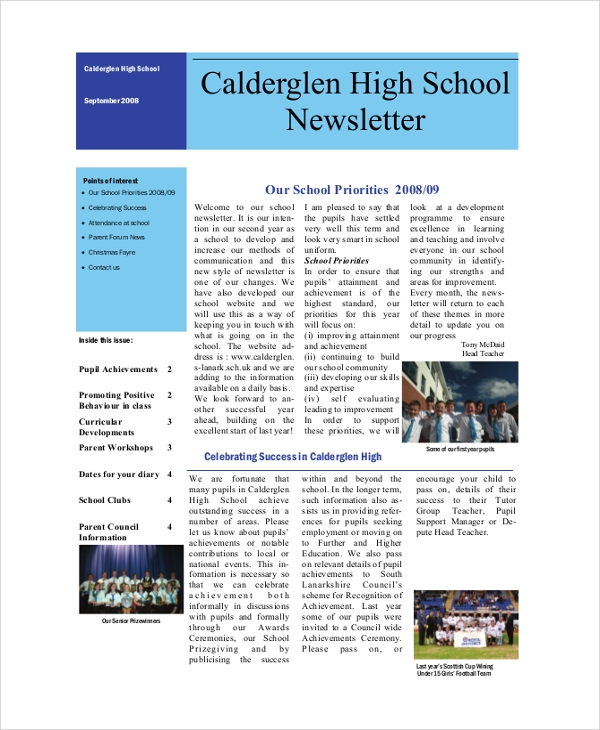 Sample School Newsletter   Documents In Pdf Word