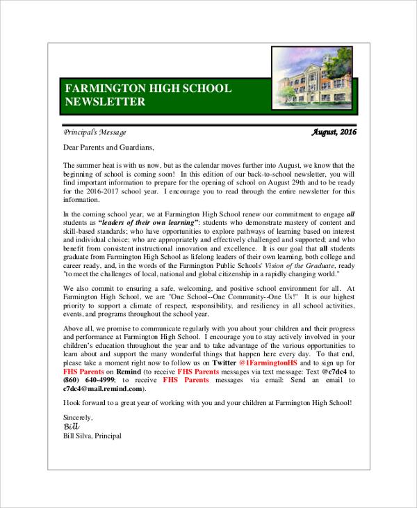 Sample School Newsletter