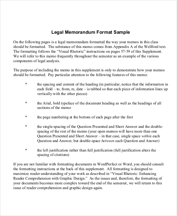 Sample Legal Memo   Documents In Pdf Word