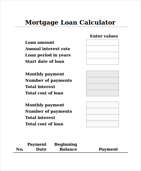 mortgage loan calculator excel