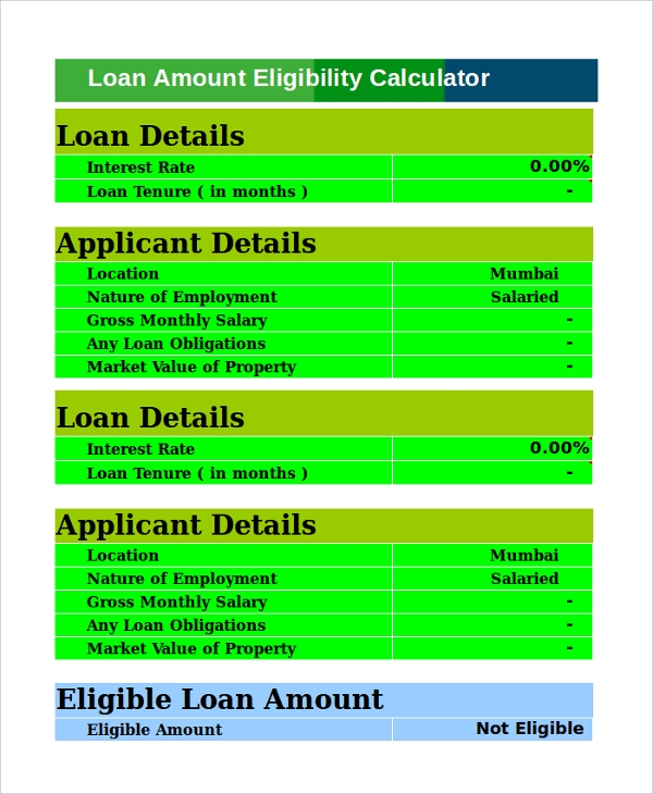 loan amount eligibility calculator excel